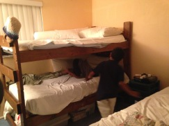 Clowning around on the bunk beds.